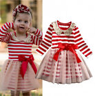 Stripe Girls Baby Kids Dresses Princess Long Sleeve Tulle Party Dress Clothes