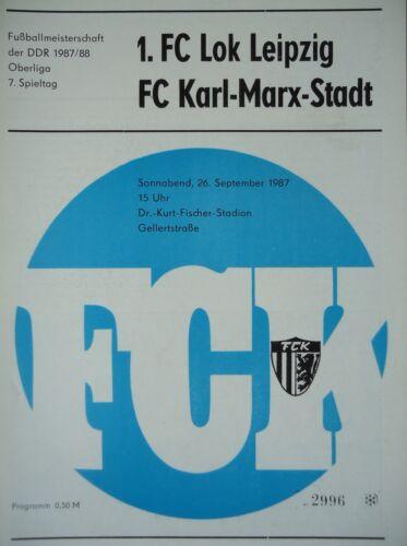 Programm 1987//88 FC Karl Marx Stadt Lok Leipzig