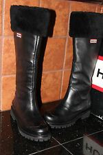 HUNTER STEAMBOAT BOOTS BLACK WATERPROOF LEATHER #6.5us $395