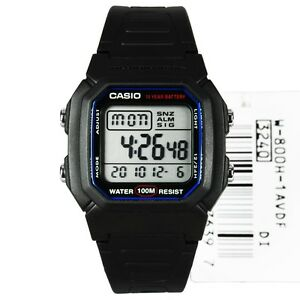 W-800H-1A-Black-Genuine-Casio-Dual-Time-Alarm-Digital-Men-039-s-Watch-Digital-New