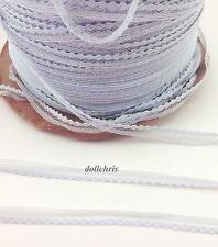 """Lace Trim Tiny 1/4"""" 10 yards Sewing Doll Clothes Vintage Lilac Gray Lot 99"""