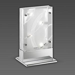 Decoratif-Lampe-de-table-chrome-et-verre-transparent-Partie-depoli-incl