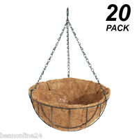 20 Pack X 30cm Hanging Baskets Garden Planters With Liner & Hang Chain