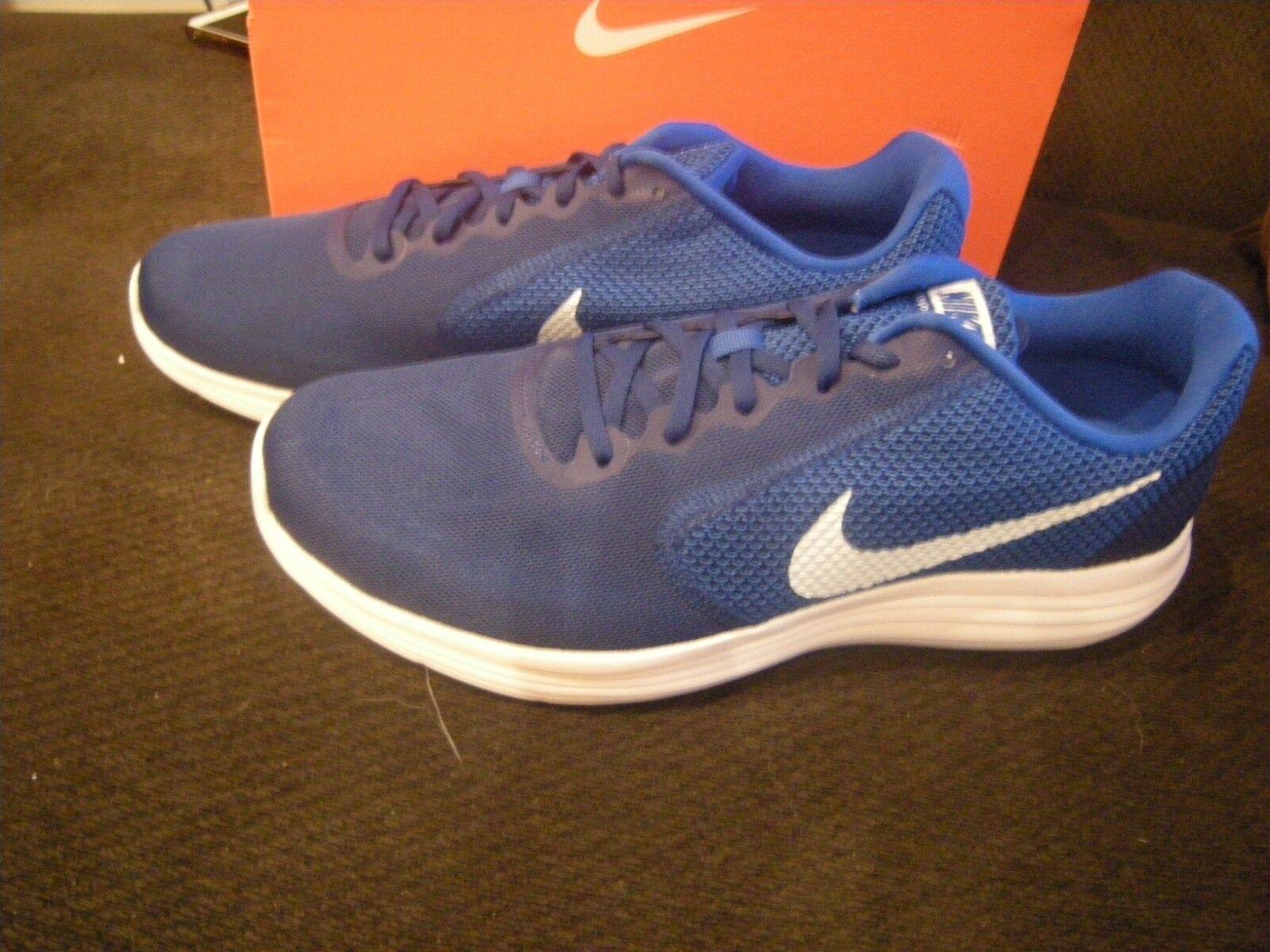 Brand New Mens bluee & White Nike Revolution 3 Tennis shoes, 14