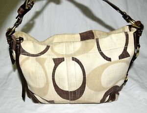 b9fccfc4c4 Image is loading Coach-12197-Carly-Tonal-Signature-Cream-Brown-Canvas-