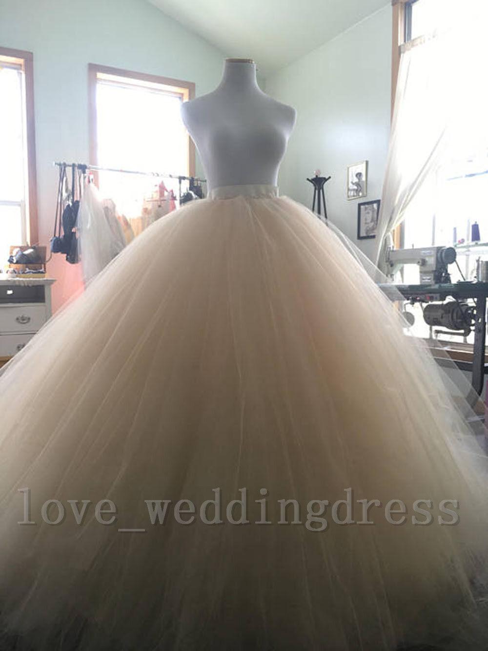 Vintage Long Wedding Bridal Skirt Tulle Tutu Women Wedding Ball Party Prom Skirt