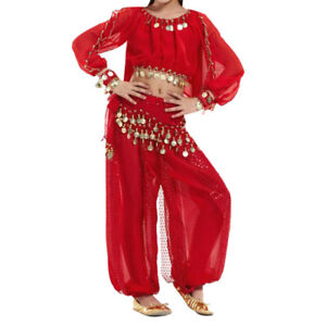 Kids Belly Dance Set Halter Top and Harem Pants Set Tribal Gypsy Party Costume