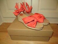 Ugg Starla Hong Orange Espadrilles Platform Wedges Sandals 6 6.5 7 8 9
