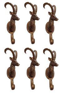 Metal-IBEX-Deer-Head-LOT-of-6-Coat-Hook-Wall-Mount-Decorative-Stag-Figurine-fxx