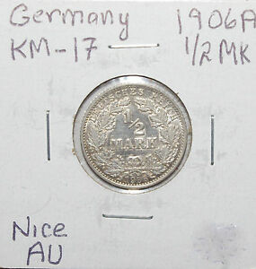 Germany-Empire-1-2-Mark-1906-A-0-90-Silver-AU-High-Value-Sale-Price