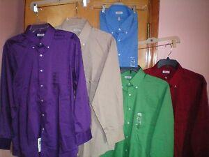 NWT-NEW-mens-purple-khaki-green-red-IZOD-classic-fit-l-s-stretch-dress-shirt-50