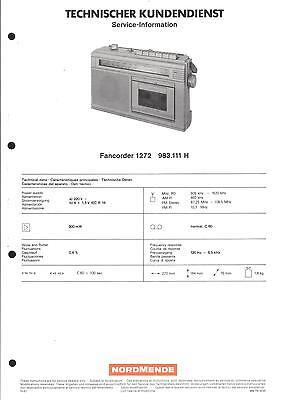 Aus Dem Ausland Importiert Nordmende Original Service Manual Für Fancorder 1272
