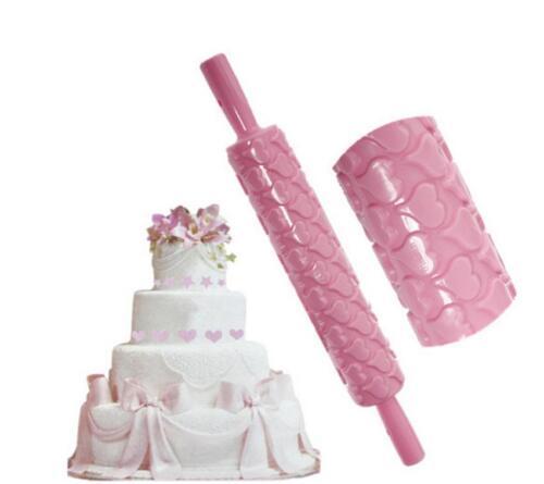 Cake Fondant Mold Rolling Pin Embossing Gum Belan Making Decorating Roller MA