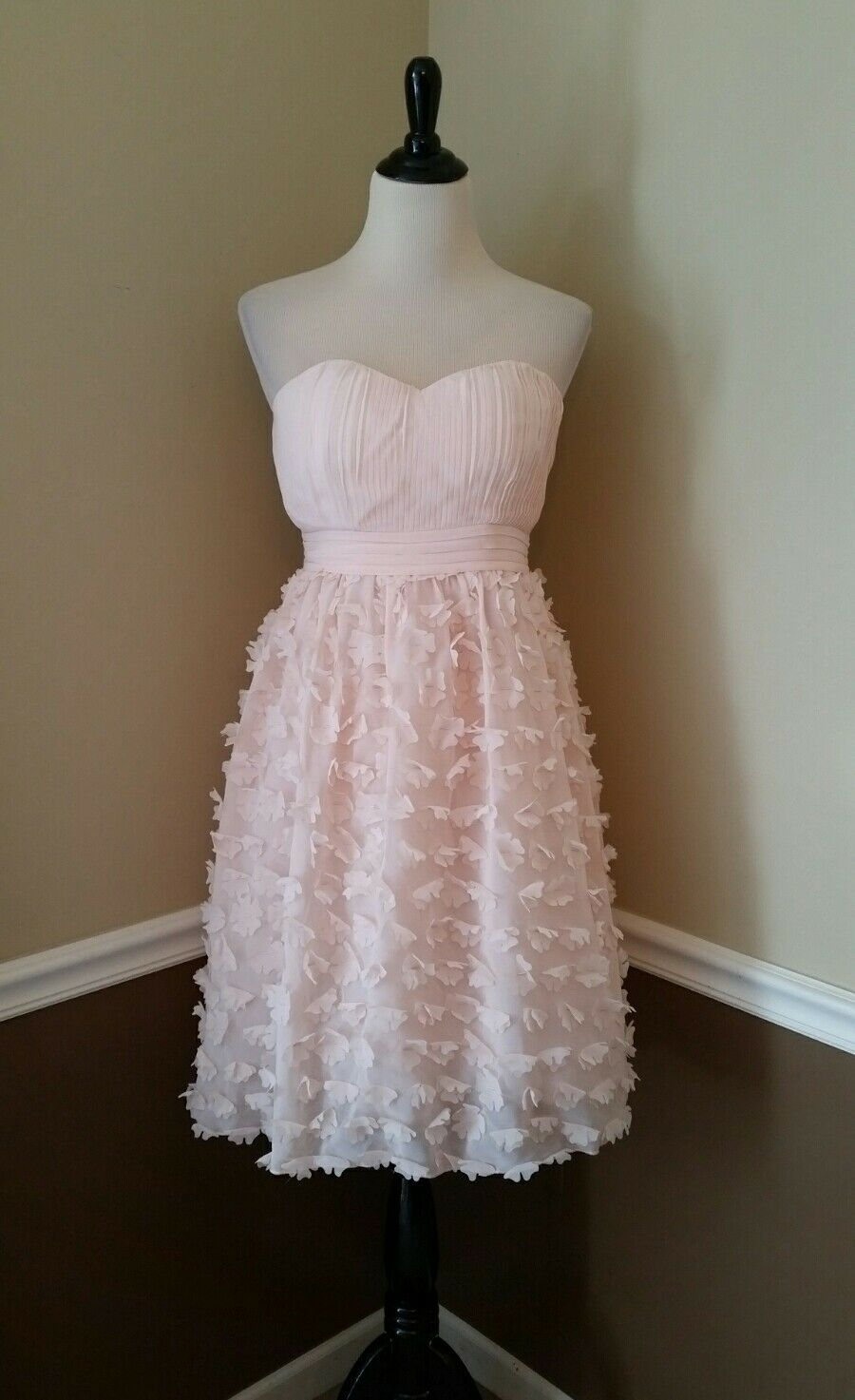 Modcloth Dress 4 Pale Rosa Strapless Formal Flower Appliques Fit Flare Delicacy