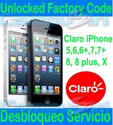 CLARO iPhone 11 XS XR 6 7+ 8 8+ X FACTORY UNLOCK SERVICE Desbloquea iPhone 7