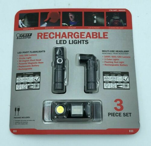 Feit Electric Rechargeable LED Lights Headlamp Set 3 Pieces FREE SHIPPING NEW