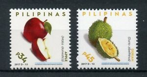 Filippine-2017-Gomma-integra-non-linguellato-frutti-Definitives-PT-II-DURIO-MELE-2-V-Set-Timbri