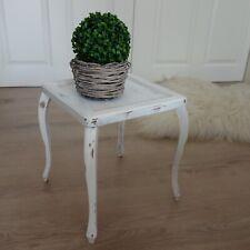 Shabby Chic Blumenständer Nachttisch Hocker Kiste Weiß Metall Behälter Holz