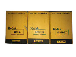 Kodak-1-Plus-X-amp-2-Super-XX-Safety-Film-Packs-12-Exp-2-1-4-x-3-1-4-1954-SEALED