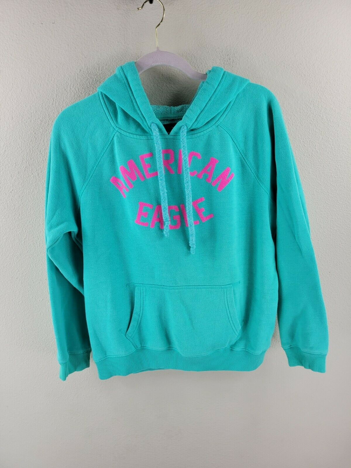 Women's Green American Eagle Cotton Blend Pullover Hoodie Sweater Size Large