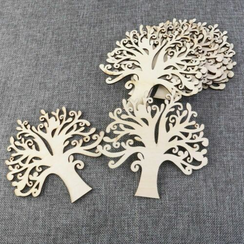 10pcs Blank Wooden Tree Embellishments for DIY Crafts b49 Wood Color
