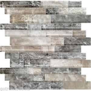 Details About Black Brown Grey Interlocking Pattern Gl Mosaic Tile Kitchen Wall Backsplash