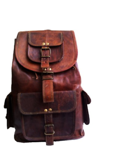 "jaald 16/"" Genuine Leather Retro Rucksack Backpack College Bag,School Picnic Bag"