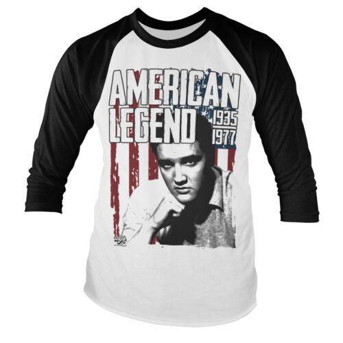 Officially Licensed Elvis Presley American Legend 3//4 Sleeve Baseball T-Shirt
