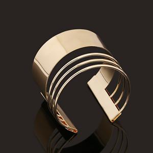 Retro-Women-Gold-Four-Layers-Punk-Open-Cuff-Bangle-Wide-Bracelet-Fashion-Jewelry