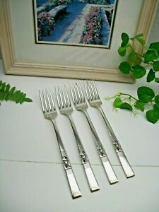 4  Oneida Ltd  CARNIVAL Silverplate Luncheon Grille Viande Forks 1939  FREE SHIP