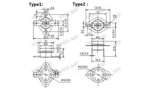 KSD301 2 pcs Temperature Switch Control Sensor Thermal Thermostat 80°C N.C