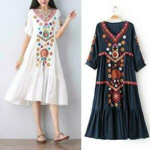 Women-Mexican-Embroidered-Cotton-Linen-Long-Boho-Loose-Dress-Hot-Vintage-Ethnic