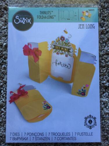 Jar FOLD-A-LONG by JEN LONG 7 Dies 560372 NEW Sizzix THINLITS Dies CARD
