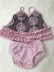 126f1b238b Details about NWT Isobella & Chloe pink floral appliqué swimming suit 2  piece girls size 12M
