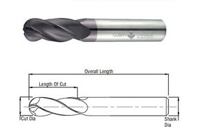 "TiALN COATED 3//16/"" 2 FLUTE LONG BALL NOSE CARBIDE END MILL"