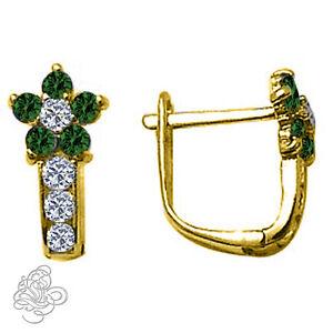 Birthstone-Gemstone-Flower-Huggie-Earrings-Yellow-Gold-Plated-Silver-925