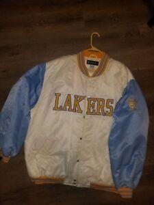 Los Angeles Lakers Jacket Vintage Bomber Satin Hardwood Classics 3xl Used Ebay