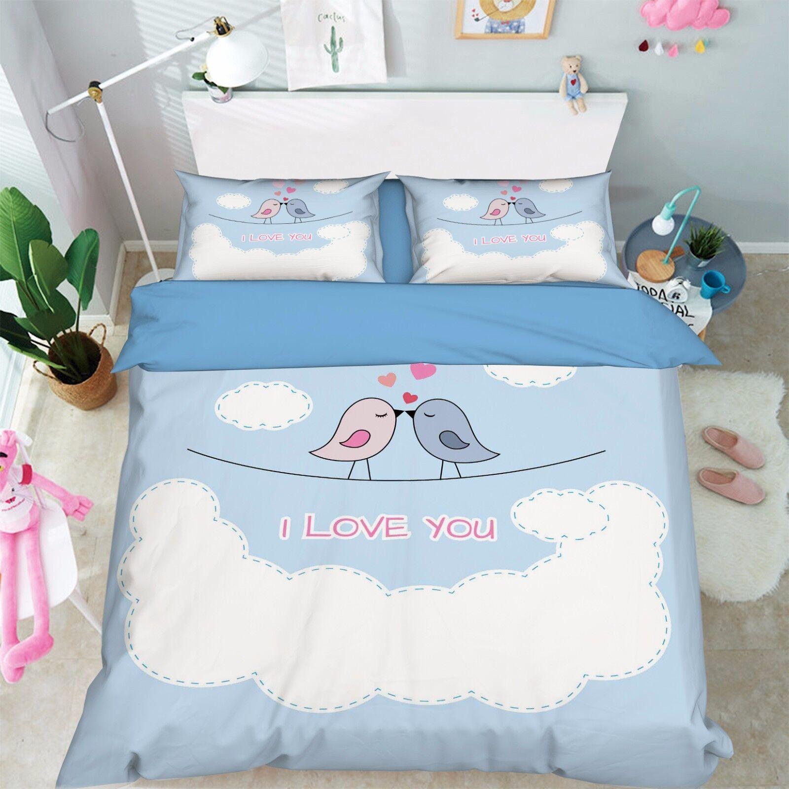 3D Clouds Birds 907 Bed Pillowcases Quilt Duvet Cover Set Single Queen UK Kyra