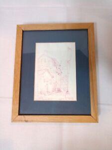 Original Art Framed Pen & Ink Drawing, Signed, Dated