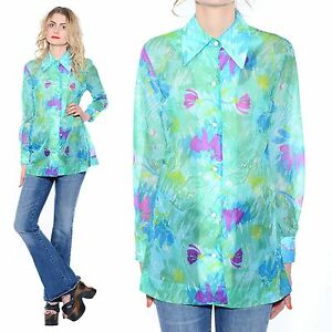 Vtg-70s-Mod-Sheer-ABSTRACT-PRINT-Hippie-Psychedelic-Nylon-Blouse-Shirt-Tunic-Top