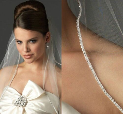 Beautiful White 1T 1 Tier Veil Swarovski Rhinestone METAL COMB Fingertip Wedding