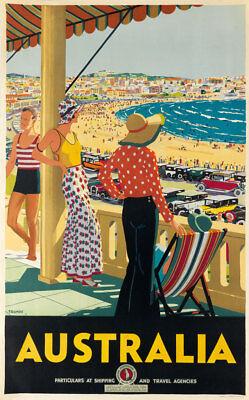 Australia 1929 Bondi Beach Sydney Vintage Travel Poster or Canvas Print 20x32