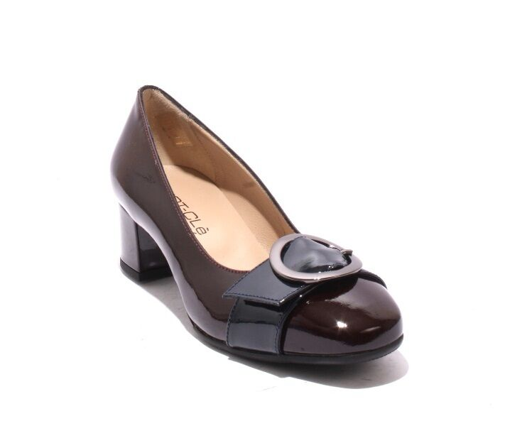 MOT-CLe 6514 Burgundy   Navy Patent Leather Buckle Heel Pumps 36   US 6