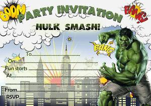 Detalles De 10 X Niños Invitaciones Fiesta De Cumpleaños O Tarjetas De Agradecimiento Hulk Ver Título Original