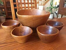 Salad Serving Set Thailand Teak wood Salad Bowls Mid Century Danish Modern Set 5