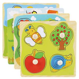 Kleinkind-Kinder-Paedagogisch-Holzpuzzle-Holzpuzzle-Steckpuzzle-Spielzeug-S-W3T7