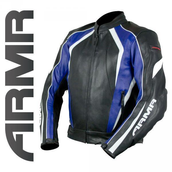 ARMR Katana de Piel Motocicleta Deportiva Chaqueta Negra blue