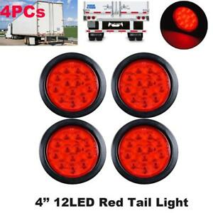 Magnificent 4 Inch Red 12 Led Round Stop Turn Tail Marker Truck Light W Wiring Digital Resources Nekoutcompassionincorg