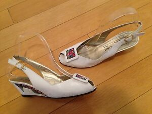d2b2b34634 BRUNO MAGLI: Vintage Women's White Peep Toe Slingback Shoes Size 5.5 ...