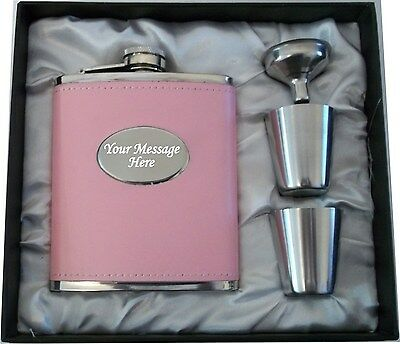 Engraved 7oz Pink Hip Flask Bride Wedding Thank You  Personalised Gift